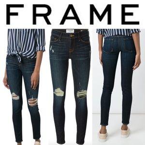 Frame Le Skinny De Jeanne Distressed Jean